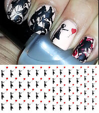 Girl With Heart Balloon Nail Art Waterslide Decals - Salon Quality!