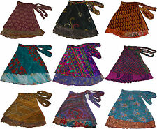 Pack of 5 Womens Small Size Vintage Wrap Around Sari Skirts 24 Inch