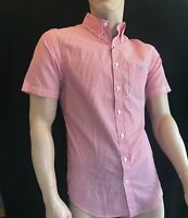BNWT GANT Gents Poplin Banker Bright Red Cotton Shirt Short Sleeve Size S SAVE £
