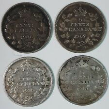 LotC857 Canada Five Cent 5 Cents 1906 1907 1910 1910 – Four Coins