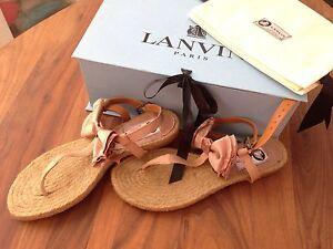NIB $575 LANVIN Rose Pink Satin Bow Espadrilles Flat Thong Sandals IT 37 /US 7