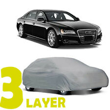 TRUE 3 LAYERS GRAY FITTED CAR COVER OUTDOOR WATER SUN RESISTANT for AUDI A8 S8