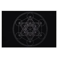 "NEW Sacred Hexagram Mat 8x12"" Fabric Crystal Grid Metatron's Cube Layout Cloth"