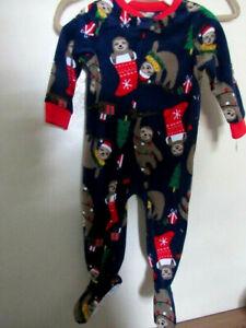Carter's 18 Months Pajamas Fleece Zipper Footed Christmas Sloth Boy or Girl New