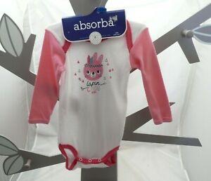 Absorba body manche longue motif lapin indien blanc rose bébé 6,9 ou 18 mois