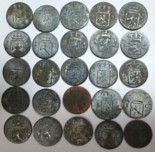 25 Dutch East Indies, India Batavia 1 cent, 1/4 Stuiver copper coins 1815 1823