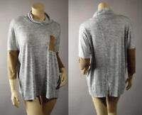 Basic Marled Gray Slouchy Turtleneck Casual Knit Pullover Top 247 mv Shirt S M L