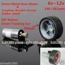 Metal Gear Motor Rubber Wheel DIY Smart track Car Robot DC 6v~12v Arduino C51