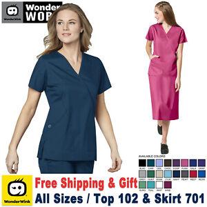 WonderWink Scrubs Set WORK Women's Mock Wrap Top & Pull on Cargo Skirt 102/701