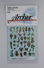 Archer (1/8 to 1/4) Traditional Old School Tattoo Decals #2 (37 figures) AR99013