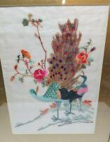 Vintage Wood Framed Peacock Embroidery Linen Tapestry Art Flower Bird 22 x 18