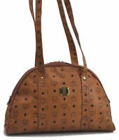 Authentic MCM Cognac Visetos Leather Vintage Shoulder Hand Bag Brown  B7824