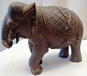 Ancien Éléphant en Bois Indien Art Rosewood Produits Sculpté Figurine Collection