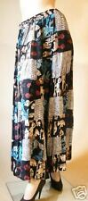 PATCHWORK LONG LENGTH SKIRT - BLACK WITH TRIBAL FIGURES