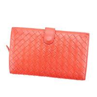 Bottega Veneta Wallet Purse Intrecciato Red Woman Authentic Used Y6439