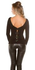 Sexy  Pullover Pulli Feinstrick Pulli mit Schleifen am Rücken Schwarz 34 36 38 #