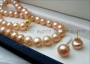 New 7-8MM Pink Genuine Natural Akoya Cultured Pearl Necklace 18'' + Earrings Set