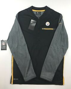 Nike Pittsburgh Steelers Mens Small Black Coaches Sideline Pullover Jacket $85