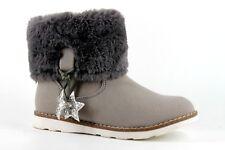 La Redoute Older Girls UK 1 Grey Zip Up Fur Trim Star Detail Winter Ankle Boots