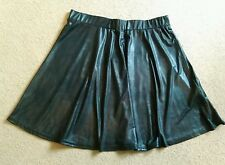 SEXY BLACK WET LEATHER LOOK FULL SKATER STYLE PULL ON MINI SKIRT SIZE 12 BNWT