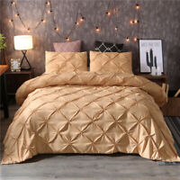 Gold Duvet Cover Set Pillow Sham Set Pinch Pleat Pintuck Polyester For Comforter