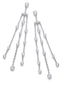 Sterling Silver Drop Earrings Three 3 Strand Round Clear Cubic Zirconia J JAZ