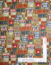 Patriotic Love My Hero Words Green Gold Cotton Fabric QT Be Strong Be Brave Yard
