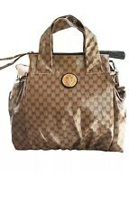 Authentic GUCCI Crystal GG Canvas Hysteria Top Handle Handbag Large