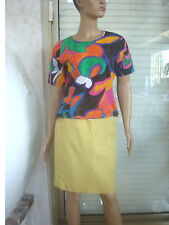 TOP TEE SHIRT VINTAGE TRES COLORE VERT/ORANGE/ BLEU /NOIR T 2 38/40 TBE