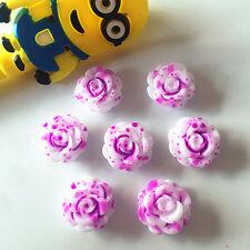 10pcs Resin14mm Rose Flower flatback Appliques phone/wedding/crafts purple