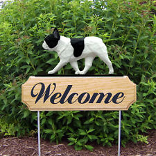French Bulldog Dog Breed Oak Wood Welcome Outdoor Yard Sign Pied