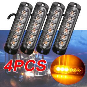 4x 6LED Flashing Lights Amber Cree Recovery Strobe Breakdown Lamp Grill 12V/24V