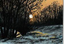 "New Listingaceo original acrylic painting ""Winter Sunrise"" by J. Hutson"