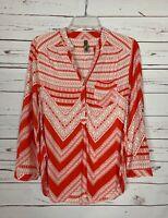 Entro Boutique Women's M Medium Orange White Button Long Sleeve Top Blouse Shirt