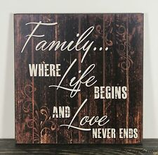 Primitive Country Black Wood Family Sign Handmade Inspirational Home Decor 1428