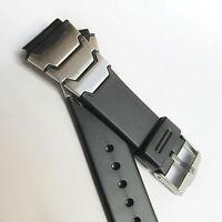 BLACK RUBBER WATCH STRAP - 20mm Width Sport Style - STEEL DETAIL - FREE UK P&P