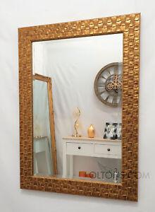 John Lewis Gold Mosaic Wall Mirror Wood Frame Bevelled 117x92cm 46x36