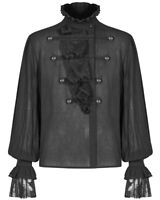 Punk Rave Mens Gothic Shirt Top Black Steampunk Regency Aristocrat Lace Ruffle