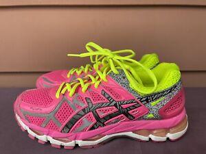 EXCELLENT RARE Asics Gel-Kayano 21 Women US 8.5 Pink Neon Running Shoes T4N5N D6