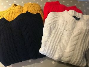 JOULES Seaford Cable Knit Jumper Relaxed Fit Sz 8 10 12 16 18RP£49.95 FreeUKP&P