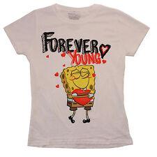 Spongebob Squarepants Forever Young White T-Shirt Juniors Size Extra Large - XL