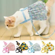 Floral Dog Skirt Cat Dress Puppy Walking Nylon Harness Leash for French Bulldog