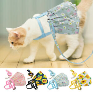 Floral Cat Dog Vest Harness and Leash set for Outdoor Walking Pet Skirt Dress