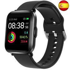 YONMIG Smartwatch, Reloj Inteligente Mujer Hombre con OxigenoSpO2, Negro (Negro)