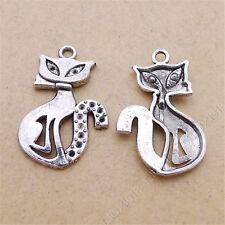 10pc Charms Cat Animal Pendant Jewellery Making DIY Crafts Tibetan Silver /S50