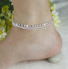 Lady Girl Silver Multi Chains Crystal Beads Ankle Bracelet,Anklet Chain, 1 piece