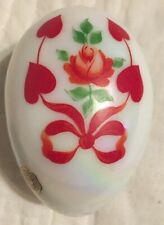 Westmoreland Glass Iridescent W/ Red Hearts, Roses & Bows 2 Piece Egg dish!