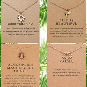 Gold Inspirational Life Quote Keepsake Karma Balance Wish Chain Pendant Necklace