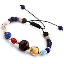 Women Universe Planets Galaxy Eight Solar Stone System Beads Bracelet Jewelry
