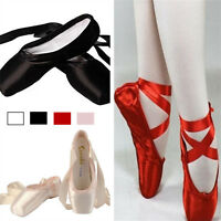 New ballet professional satin pointe ribbon ties shoes Red /Black /Pink